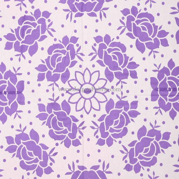 Purple Border Purple Base White Lotus Print Cotton Double Bed Sheet