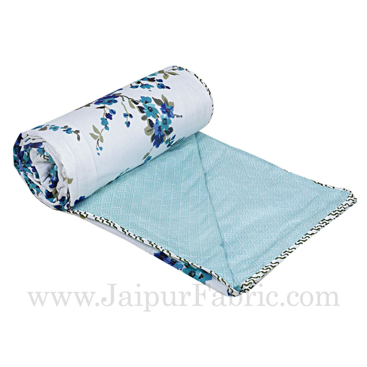 Muslin Cotton Double bed Reversible mulmul Dohar in blue motif floral print