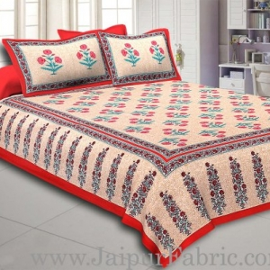 Red Border Long Gamla cream base pink flower cotton double bedsheet