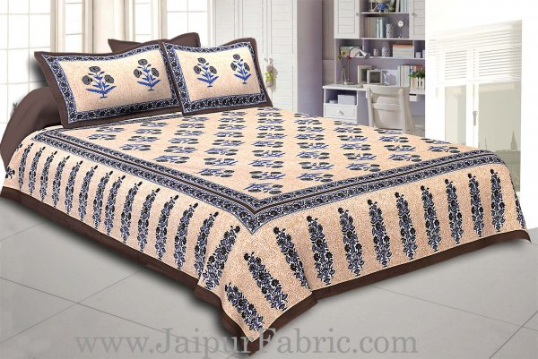 Dark Grey Border Long Gamla cream base dark grey flower cotton double bedsheet