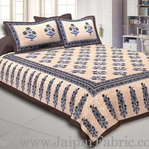Dark Grey Border Long Gamla cream base dark grey flower cotton double bedsheet