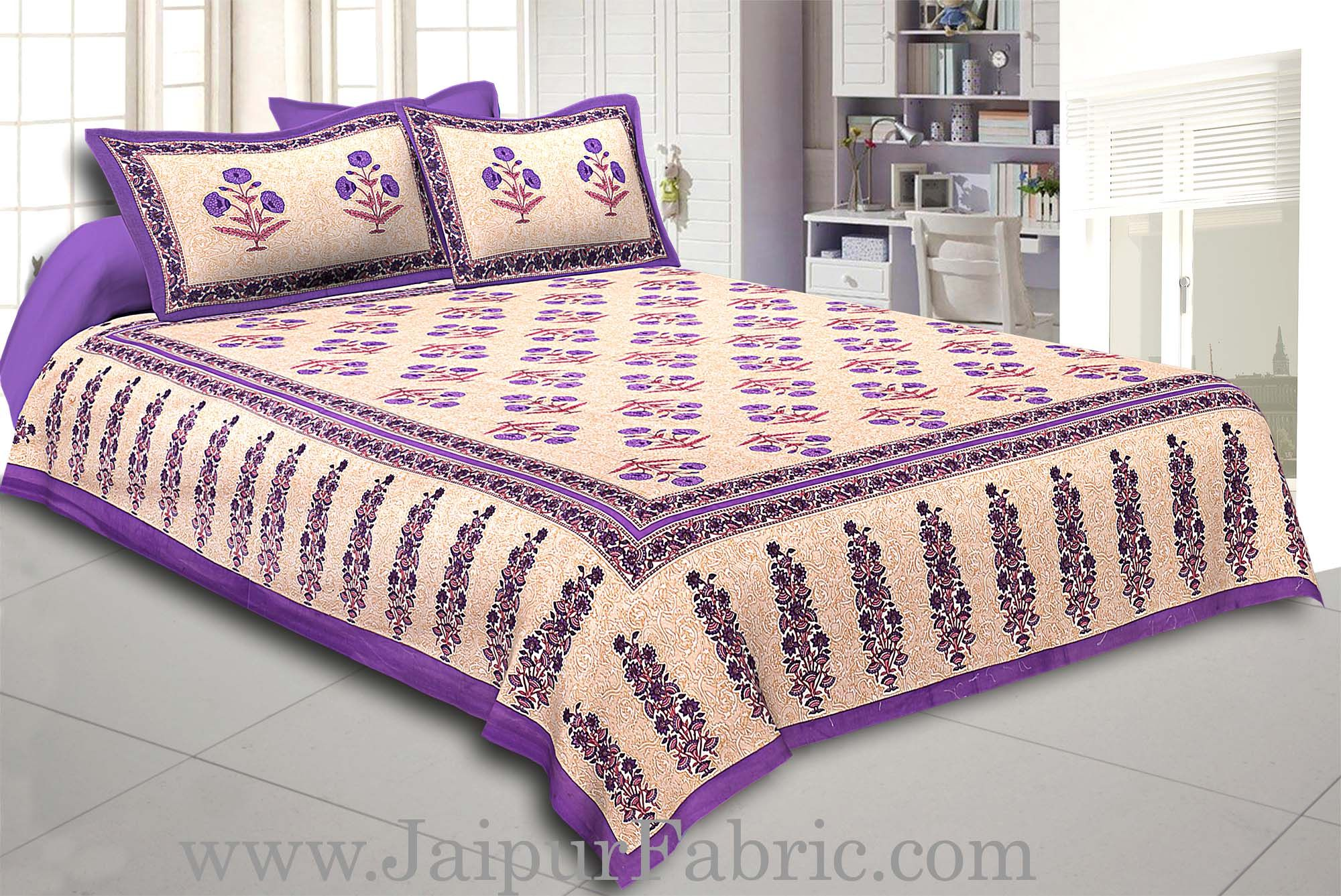 Purple Border Long Gamla cream base purple flower cotton double bedsheet