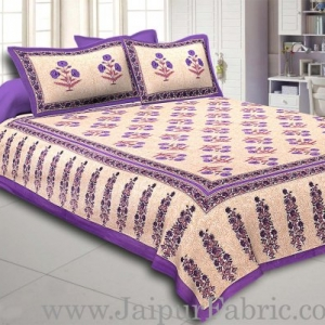 Purple Border Long Gamla cream base purple flower cotton double bedsheet