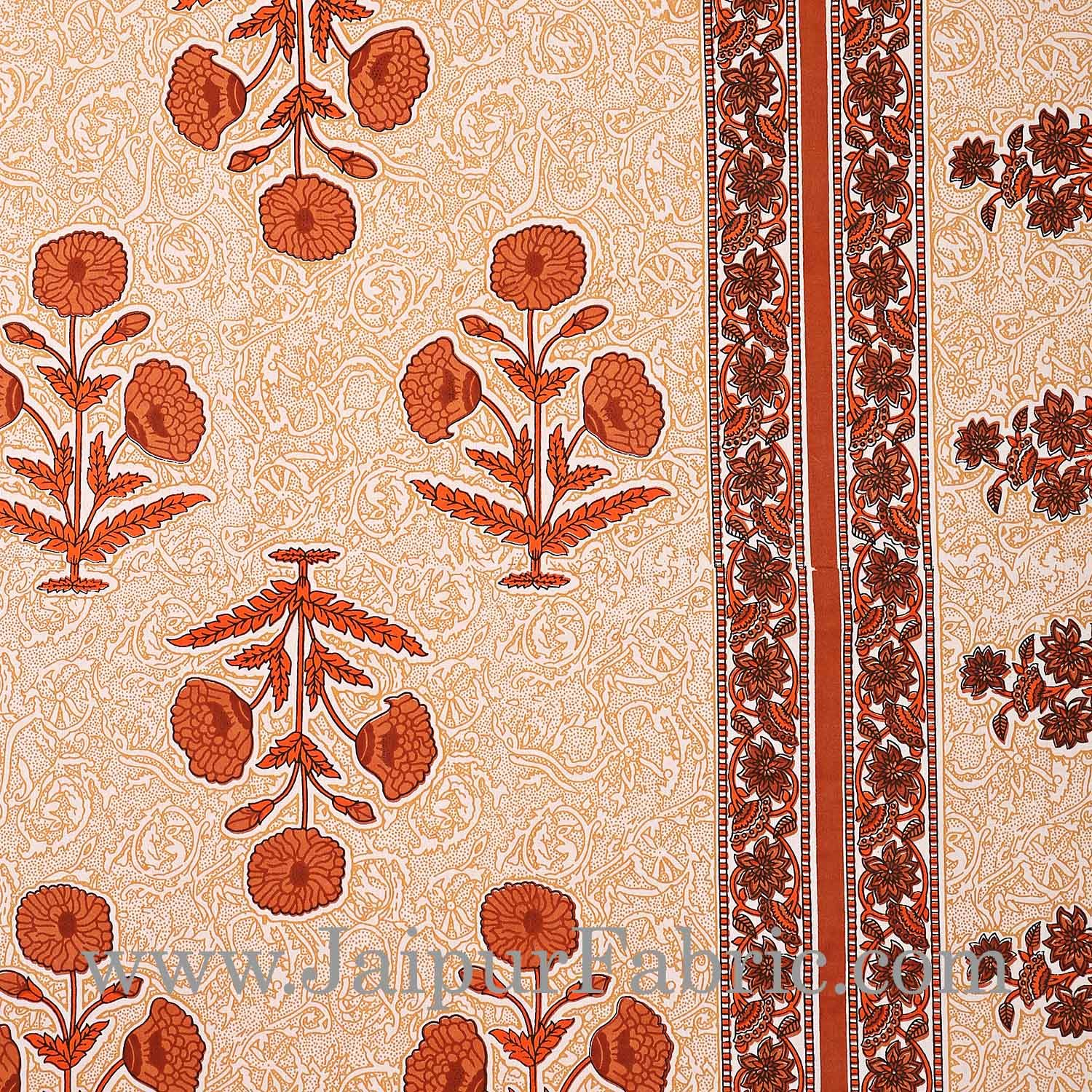 Brown Border Long Gamla cream base brown flower cotton double bedsheet