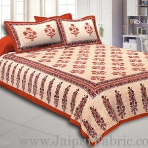 Brown Border Long Gamla cream base brown flower cotton double bedsheet