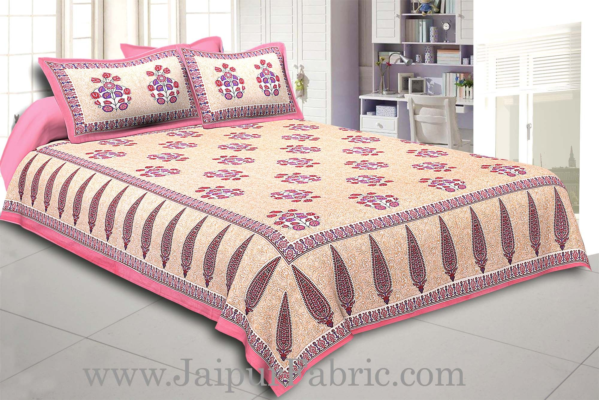 Pink Border long leaf cream base with pink flower bunch pattern cotton double bedsheet