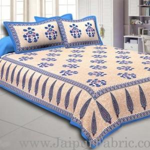 Blue Border long leaf cream base with blue flower bunch pattern cotton double bedsheet