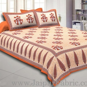 Brown Border long leaf cream base with brown flower bunch pattern cotton double bedsheet