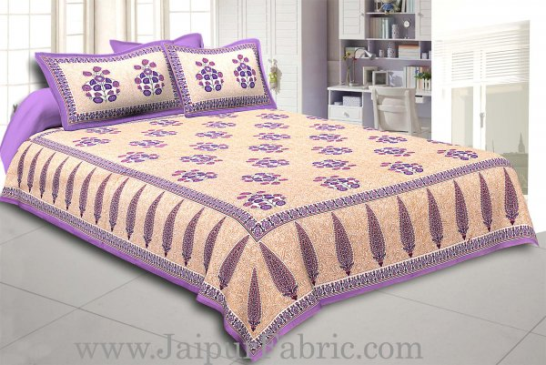 Purple Border long leaf cream base with purple flower bunch pattern cotton double bedsheet