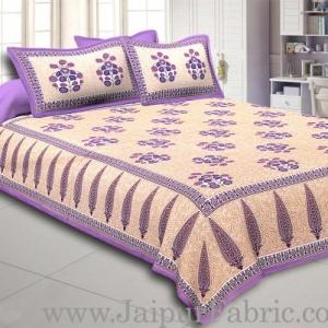 Purple Border long leaf cream base with purple flower bunch pattern cotton double bedsheet