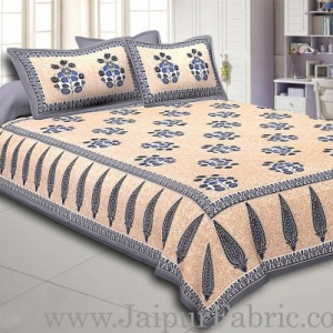 Grey Border long leaf cream base with grey flower bunch pattern cotton double bedsheet
