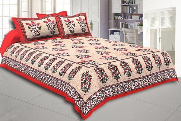 Red Border with Bail and Gamla cream base bud and leaf print cotton double bedsheet