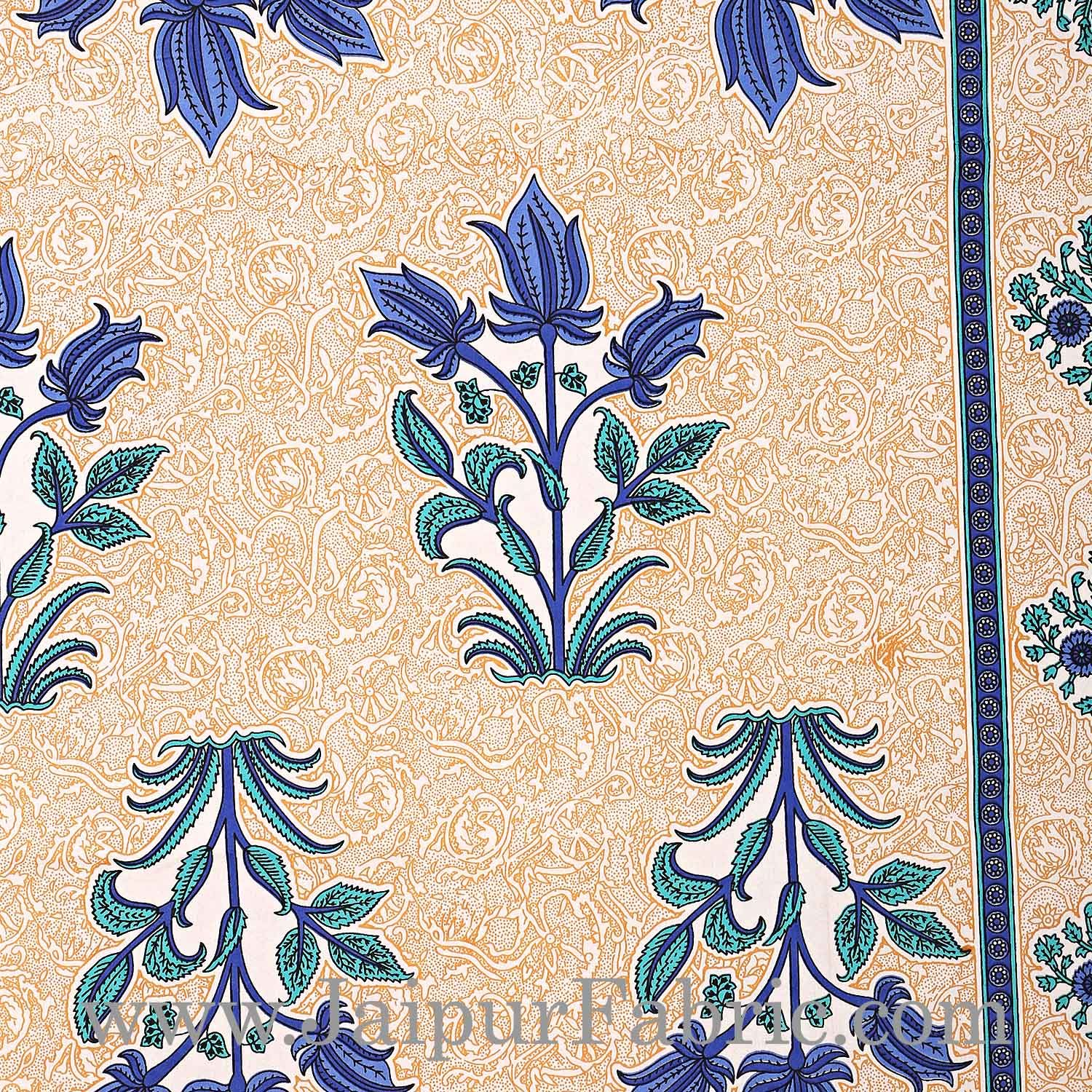 Blue Border with Bail and Gamla cream base bud and leaf print cotton double bedsheet