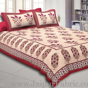 Maroon Border with Bail and Gamla cream base bud and leaf print cotton double bedsheet