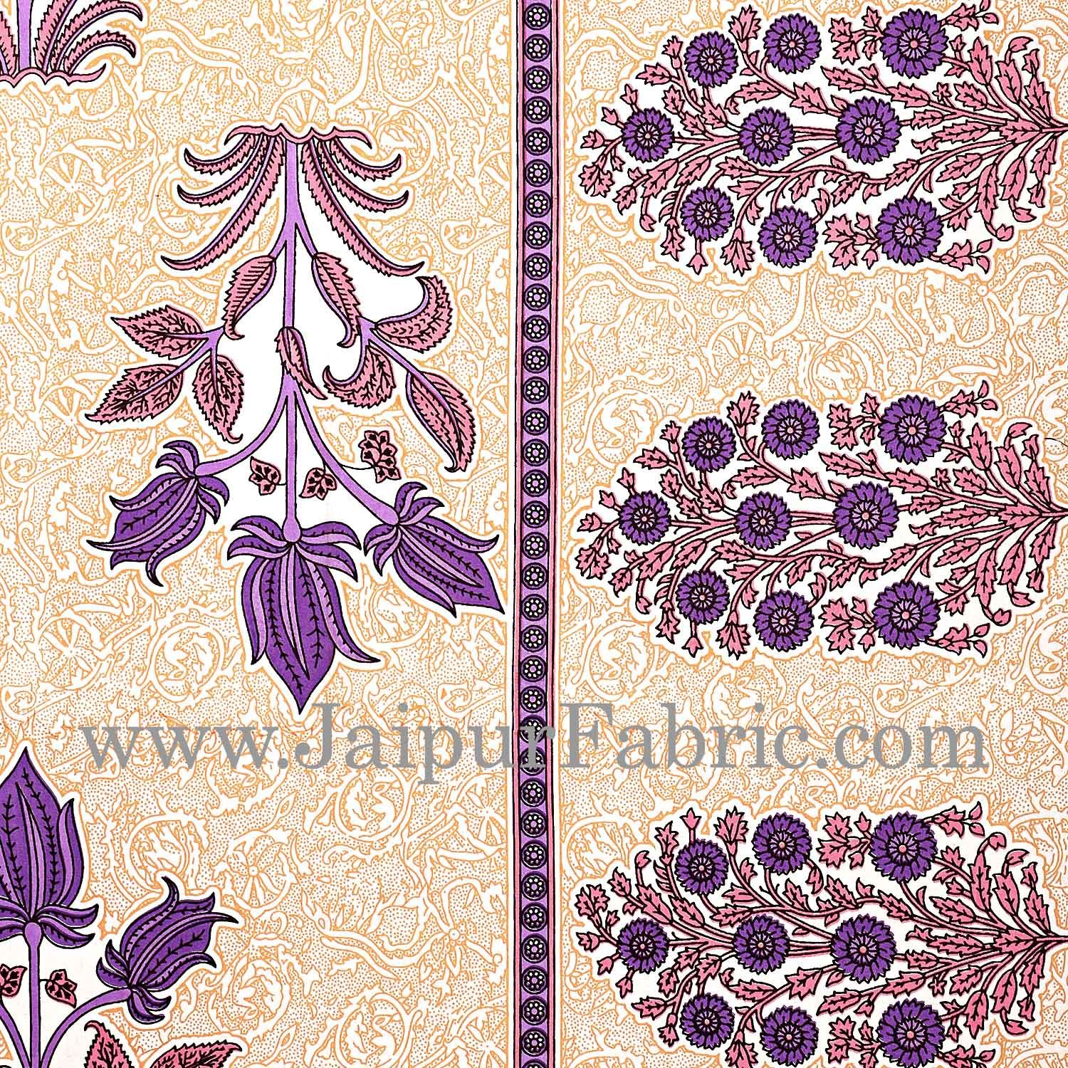 Purple Border with Bail and Gamla cream base bud and leaf print cotton double bedsheet