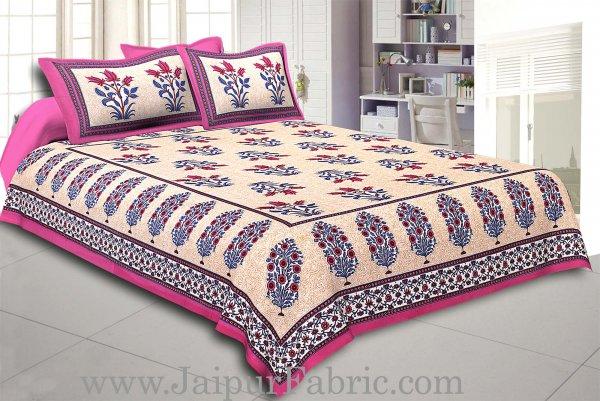 Dark Pink Border with Bail and Gamla cream base bud and leaf print cotton double bedsheet