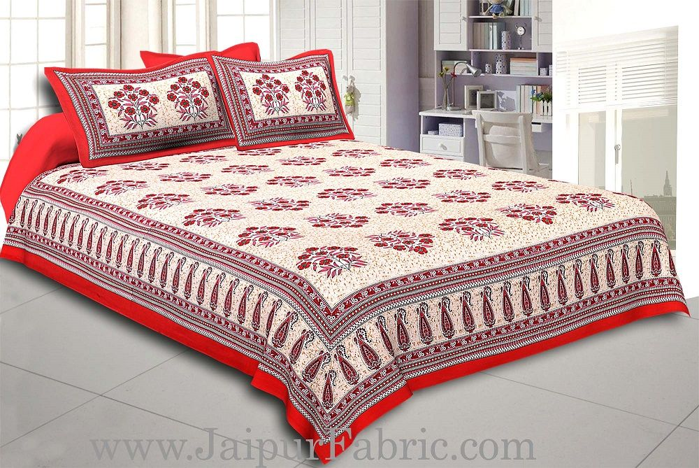 Red Border with long paan print cotton double bedsheet