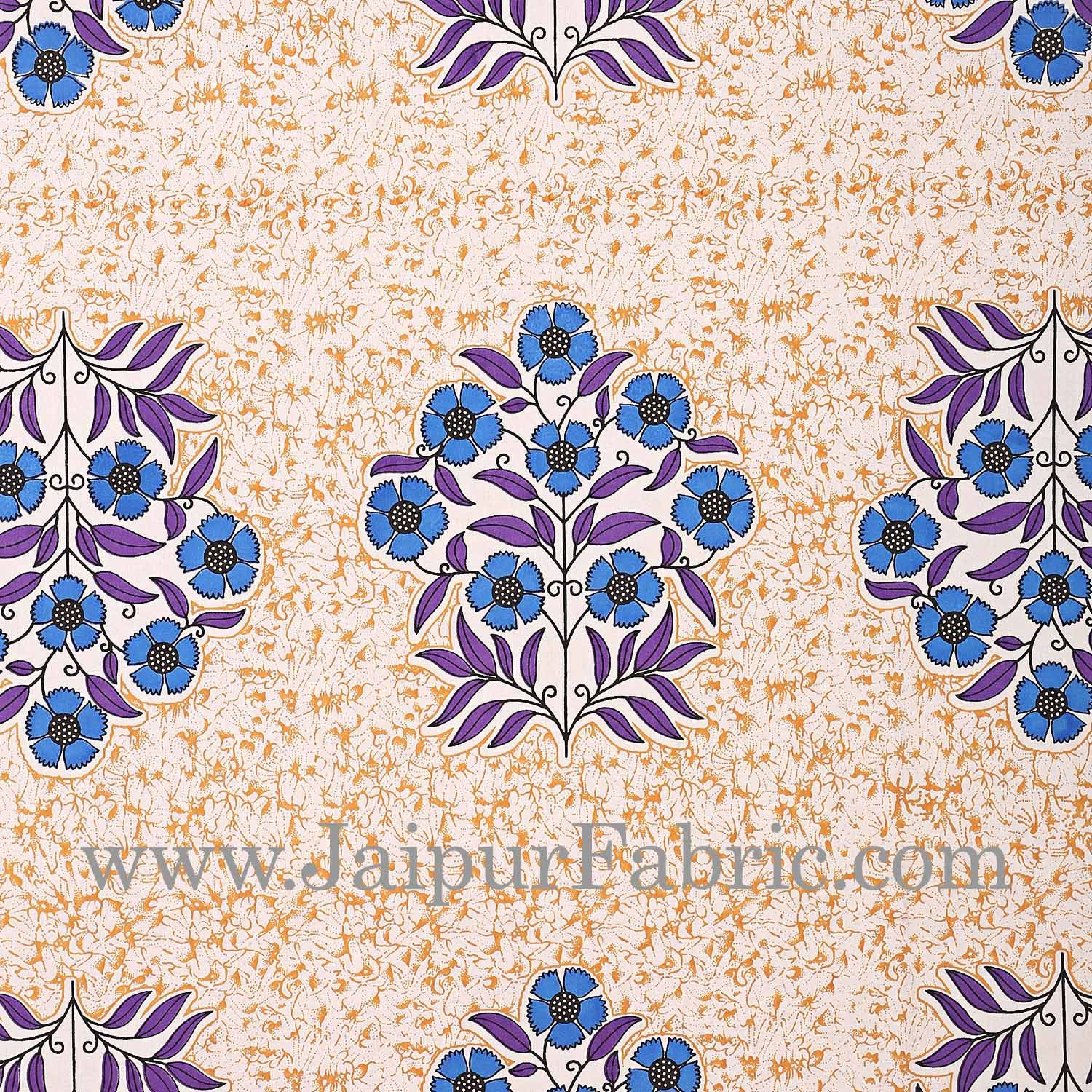 Blue Border with long paan print cotton double bedsheet