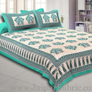 Green Border with long paan print cotton double bedsheet