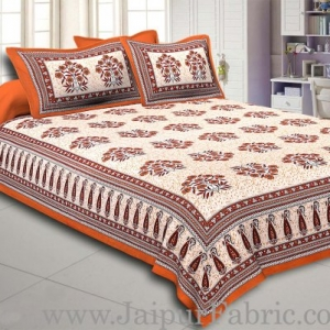 Brown Border with long paan print cotton double bedsheet