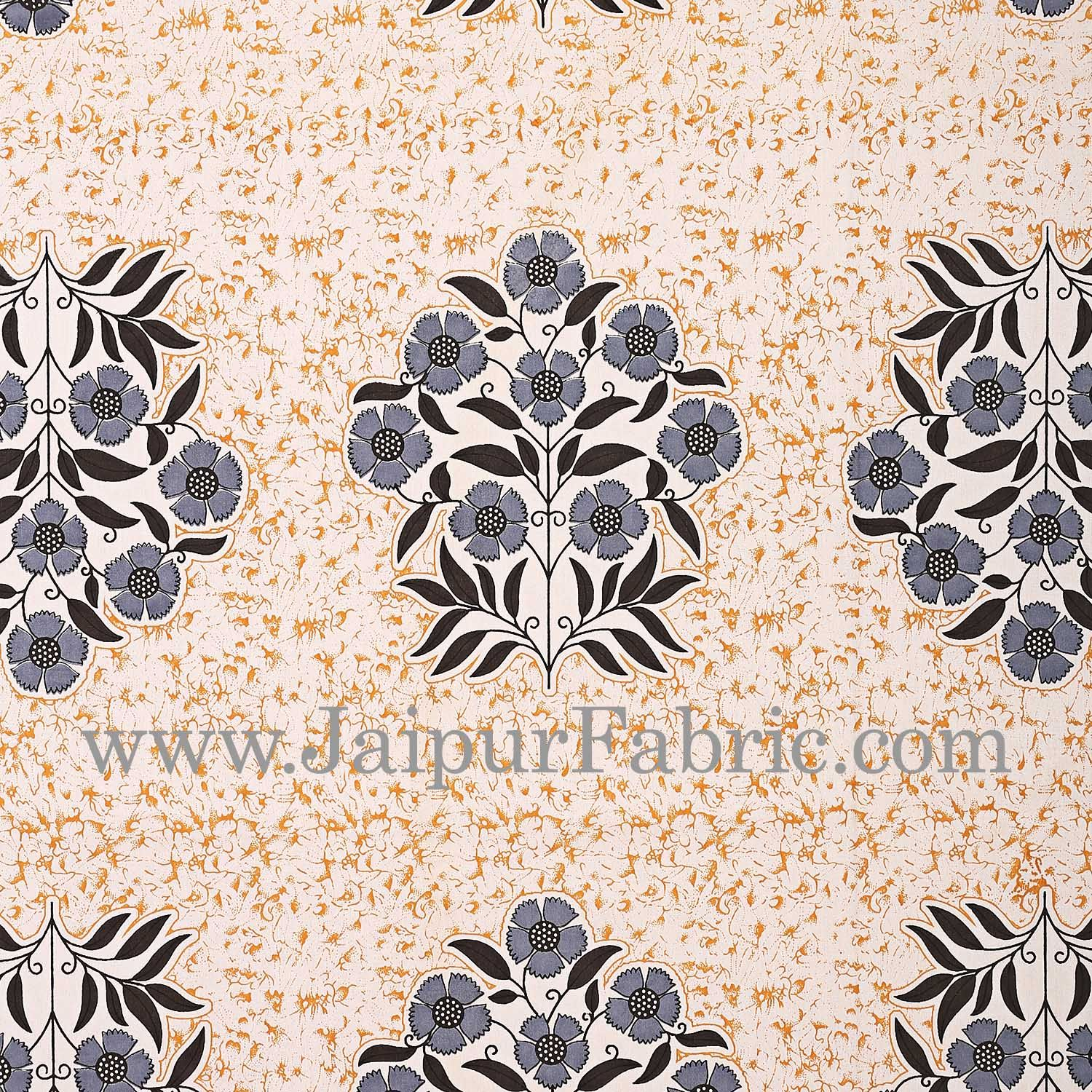 Grey Border with long paan print cotton double bedsheet