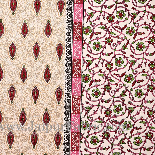 Pink Border with broad jaal pattern cotton double bedsheet