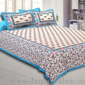 Blue Border with broad jaal pattern cotton double bedsheet