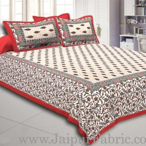 Red Border with broad jaal pattern cotton double bedsheet