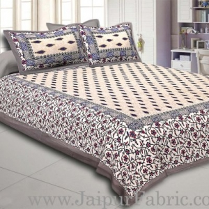 Grey Border with broad jaal pattern cotton double bedsheet