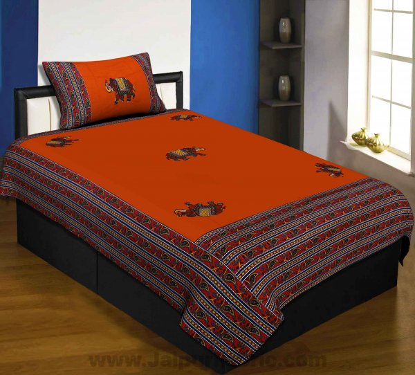 Applique Orange Elephant Jaipuri  Hand Made Embroidery Patch Work Single Bedsheet