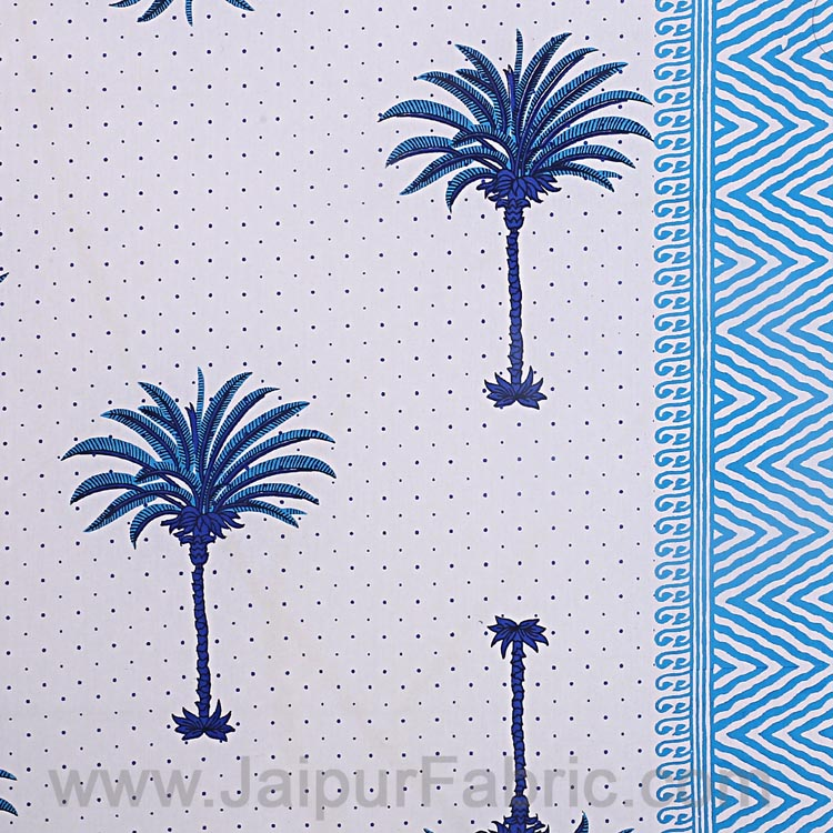 Double Bedsheet Fine Cotton Sky Blue Palm Polka