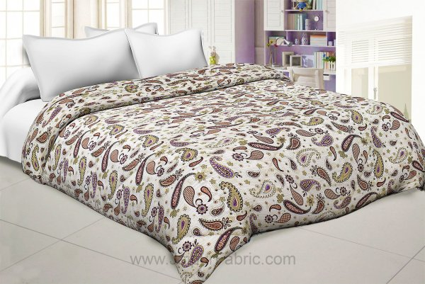 Paisley Creamish Pink Double Bed Comforter