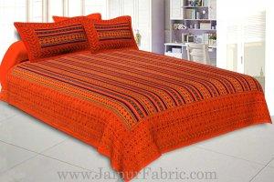 Double Bedsheet Katha Work Orange Border Zik-Zak Print
