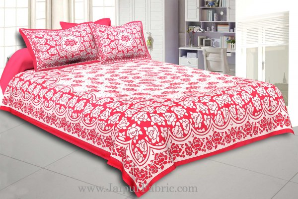 Dark Pink Border Pink  Base White Lotus Print Cotton Double Bed Sheet