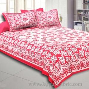 Dark Pink Border Pink  Base White Lotus Print Cotton Double Bed Sheet