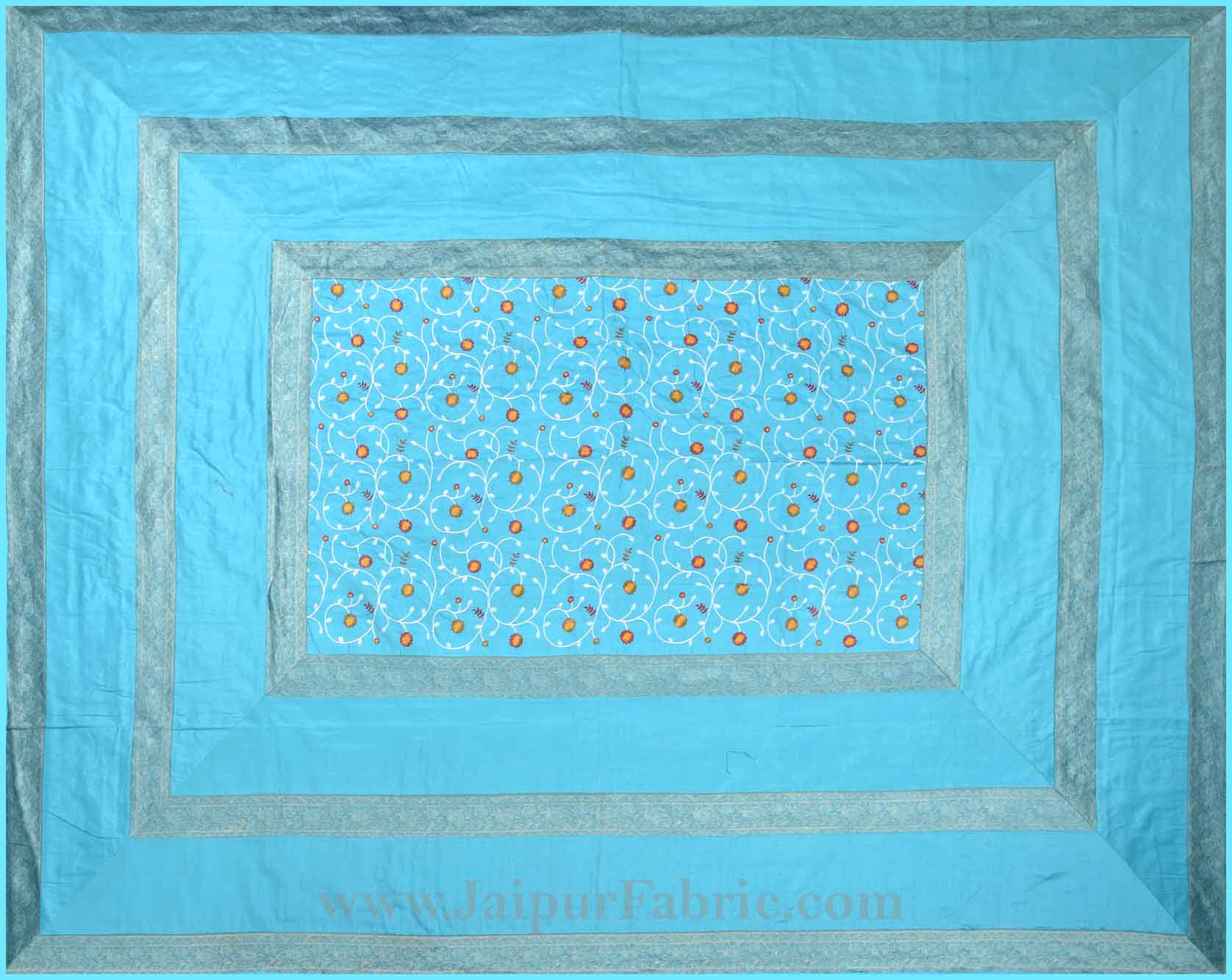 Firozi Base With Zari  Border Silk Embroidery And Silk  Double Bedsheet