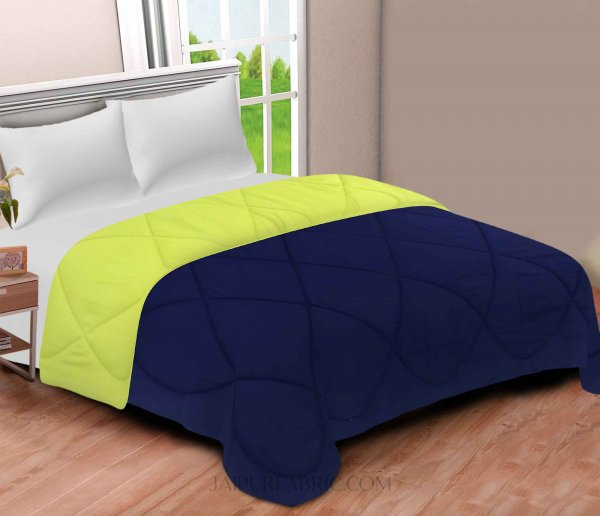 Navy Blue-Lemon Green  Double Bed Comforter