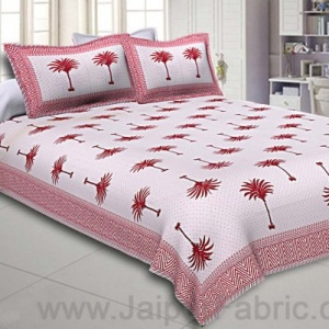 Double Bedsheet Fine Cotton Sweet Pink Palm Polka