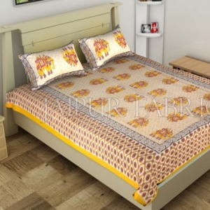 Yellow Big Size Elephant Printed Cotton Single Bed Sheet