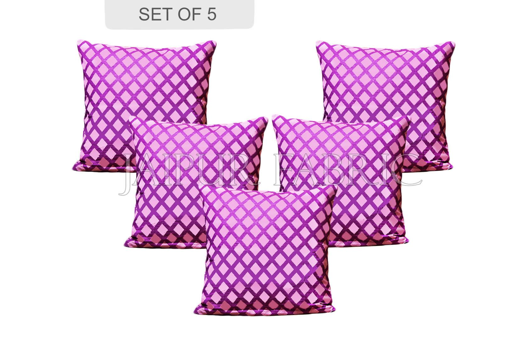 Amethyst Color Purple Square Print Cushion Cover