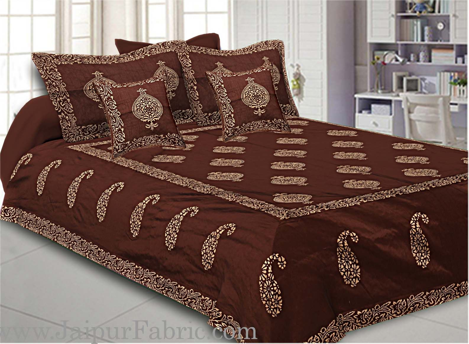 Brown Base Khadi Print Hand Work Silk Double Bed Sheet