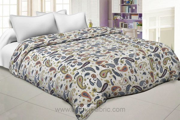 Paisley Creamish Green Double Bed Comforter