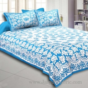 Firozi  Border Firozi Base White Lotus Print Cotton Double Bed Sheet