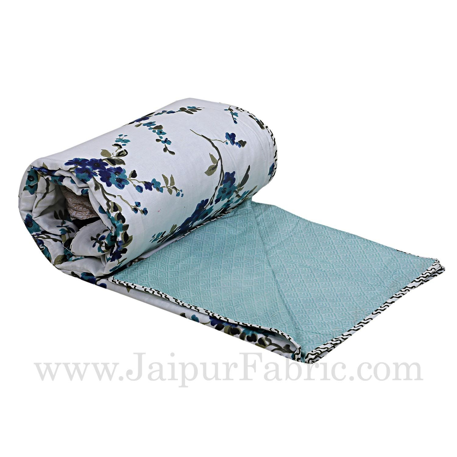 Muslin Cotton Single bed Reversible mulmul Dohar in blue floral motif print