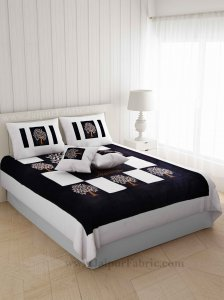 Black Base Machine Embroidery White Patch Work Silk Double Bed Sheet