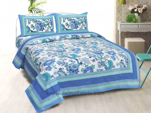 Blue Gala Flowers Double bedsheet