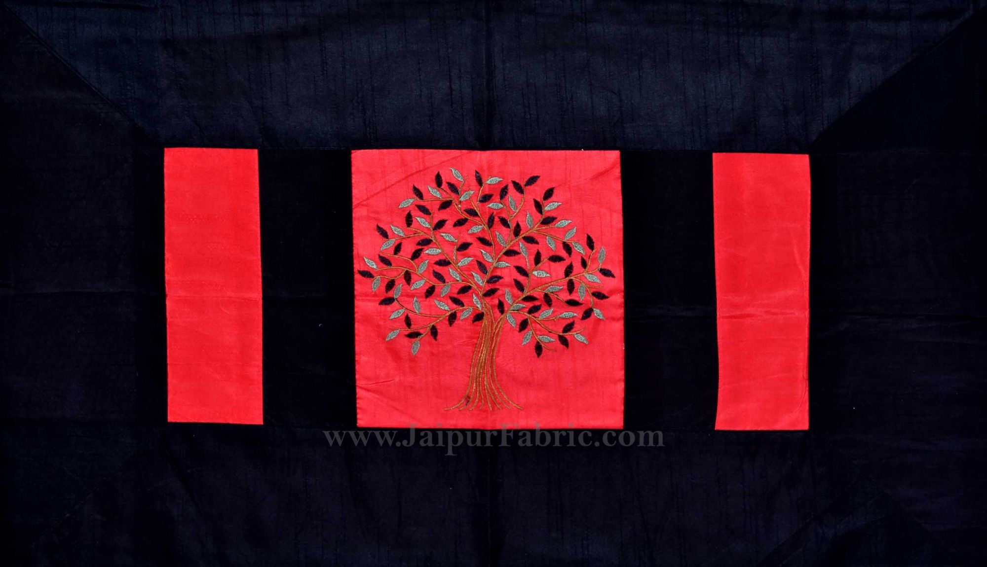 Red Base Machine Embroidery Black Patch Work Silk Double Bed Sheet