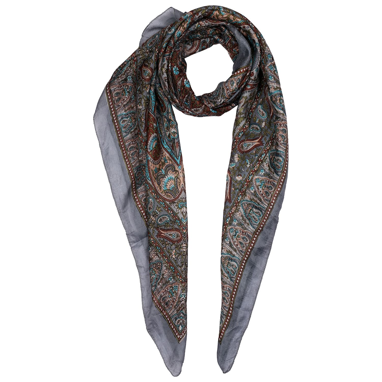 Silk Scarf Gray Border With Leaf Print