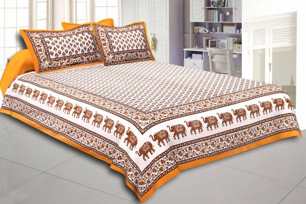 Brown Border White Base Bell And Elephant Border Small Booti  Print Cotton Double  Bed Sheet