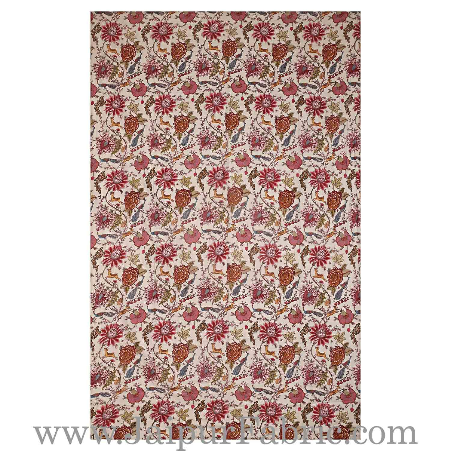 Muslin Cotton Single bed Reversible mulmul Dohar in pink floral motif print